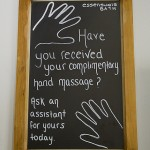 complimentary 5 minute hand massage